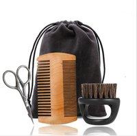 sakal tasarımı toptan satış-Sakal Fırçası Seti Çift taraflı Şekillendirici Tarak Makas Onarım Modelleme Temizleme Bakım Kitleri Erkek Yüz Tıraş Bakım Aracı LJJK1609