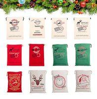rosa geführte klipps groihandel-24 Styles Christmas Gift Bags Groß Bio Schwere Leinentasche Sankt Sack Tragetasche mit Rentieren Weihnachtsmann Sack Taschen für Kinder 668