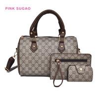 Wholesale 3pcs handbags resale online - Pink Sugao designer handbag new fashion shoulder bags women purses set handbag wild hot sales tote bags simple plaid mother bag