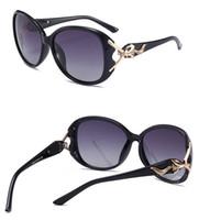 óculos para cabeças grandes venda por atacado-2019 NOVA Moda Feminina de Metal Cabeça de Raposa Óculos De Sol De Plástico Grande Quadro Polarização Óculos Frete Grátis Sem Caixa