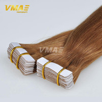 Wholesale human hair multi resale online - European VMAE Natural Color Multi Colors to Inch g Silky Hairpiece Skin Weft Virgin Remy Human Hair Extensions Tape In