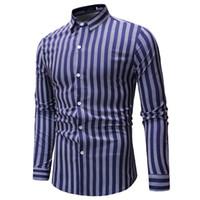 8b2dbca3e Camisa de vestir a rayas para hombre de alta calidad Cómoda de algodón de  manga larga Slim-fit elegante informal con botones camisa de fiesta Chemise