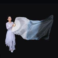 """1 pair dark blue-peacock green-yellow green 59/""""x35/"""" belly dance silk fan veil"""