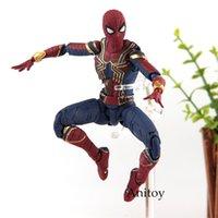 brinquedos quentes homem de ferro venda por atacado-SHF Figuarts Marvel Legends Avengers Infinito Guerra Homem Aranha Iron Spider Tamashii Palco PVC Brinquedos Quentes Homem Aranha Figura 14 cm