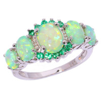 Wholesale jade wedding anniversary for sale - Group buy 925 Silver Green Fire White Opal and Jade Lady Jewelery Silver Diamond Ring Wedding Anniversary Day Gift Size