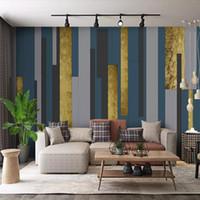 habitaciones forradas al por mayor-Simple línea geométrica abstracta moderna TV fondo pared papel sala dormitorio personalidad creativo wallpaper 3d mural arkadi