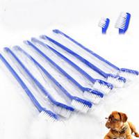limpieza dental para perros al por mayor-Doble cabeza Perro Cepillo de dientes Gato Mascota Aseo Dental Lavado Cepillo de dientes Perrito Herramientas de limpieza dental
