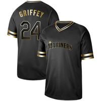 224d9cb176a Wholesale black ken griffey jersey for sale - Mens Seattle Black Gold Ken  Griffey Jr Ichiro