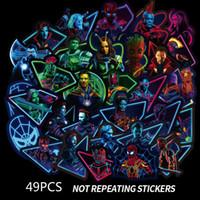 Wholesale mini book pc for sale - Group buy 49 set Marvel Fluorescent Stickers Avengers Captain Marvel Thanos Iron Man Book Luggage Laptop Refrigerator Luminous Sticker Toys B1