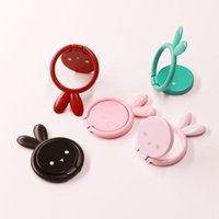 Wholesale cute rabbit phone holder online – 360 Degree Metal Cute Rabbit Finger Ring Holder Phone Stand Mount Bracket For univesal with retail package