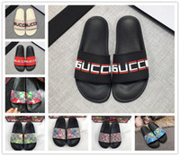 Wholesale womens green flat sandals for sale - Group buy Designer Rubber Slides Sandal Blooms Green Red White Web Fashion Mens Womens Shoes Beach Flip Flops with Flower Box Duty Bag GGSlippers