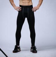 баскетбол узкие брюки оптовых-Мужские Компрессионные Брюки Спортивные Колготки Баскетбол Тренажерный Зал Брюки Бодибилдинг Бегунов Бег Тощий Черный Леггинсы Брюки