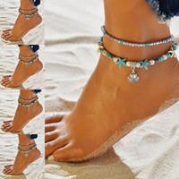 ingrosso catena della tartaruga-Beach Anklet Chain Conch Albero della vita Yoga Shell Tartaruga Elefante Cavigliera Catena Multistrato Cavigliera Bracciali Designer Catena del piede Volontà e Sandy