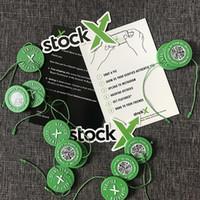 pegatinas de tarjetas al por mayor-10 unids Min Stock X OG Código QR Etiqueta StockX Tarjeta Verde Etiqueta Circular Plástico Verificado Auténtico Hebilla de Zapatos Nueva Llegada accesorios