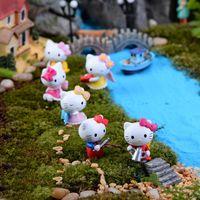 figura vaquinha venda por atacado-6 pcs olá kitty cat estatueta figuras meninas fadas decorativas vasos de jardim plantadores de artesanato de resina suculentas terrário miniaturas