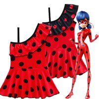 trajes de baño con volantes al por mayor-2019 trajes de baño para niños Dibujos animados milagrosa Lady bug Niñas cosplay Trajes de baño de un hombro Bikini de niño con volantes Vestido de una pieza boutique de ropa