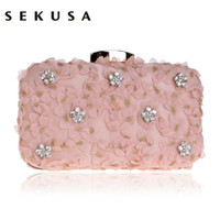ingrosso le frizioni di pizzo sono rosa-Sekusa Lace Diamonds Borsa da sera per donna Festa di nozze Borsa a tracolla a catena Giorno Pochette Borsa da sera rosa nera rosa Q190429