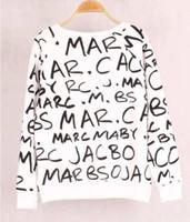 pulôveres de mão venda por atacado-Mãos de ouro Verão Outono Moda Senhora Carta de Manga Longa Sweatershirt Mulheres O-pescoço Sólida Pulôver Sweatershirt Frete Grátis # 50