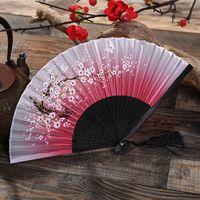 Bamboo Silk Hand Fan Fandfan in Cherry Blossom and Mandarin duck desig Green