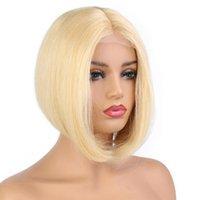 işlenmemiş bakire bob peruk toptan satış-Stokta stok 100% işlenmemiş remy virgin İnsan saç kadınlar için kısa bob # 613 doğal düz tam dantel kap peruk