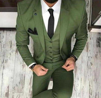 blazers ajustados para homens venda por atacado-Novo 2019 homens Tux Oilve verde azul terno do casamento de 3 peças Slim Fit entalhe Blazer clássico smoking padrinhos para festa ternos (Blazer + colete + calça)