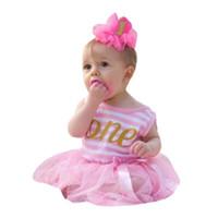 roupas para festa de aniversário venda por atacado-Baby Girl Crianças lace tulle dress meninas Festa de Aniversário Stripe Outfits Roupas Tutu Princesa Arco Vestido menina Robe fille # g4
