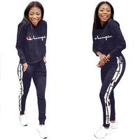 Wholesale hoodies sweatshirts dhl for sale - Group buy Women Champions Letter Print Tracksuit Long Sleeve T Shirt Top Loose Pants Leggings Set hoodie Outfits Sportswear Suit Sweatshirt DHL