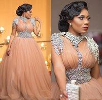 blütenblatt größe großhandel-Luixury Afrikanische Abendkleider Perlen Kristall Plus Size Formale Abendkleider Tüll robe de soiree 2019 Abendkleid vestido de festa longo