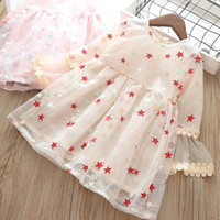 Wholesale korean star wedding dress for sale - Group buy Baby Girls Star Embroidered Princess Dress Korean Kids Flare Sleeve Ruffle Pleated Dresses Children Wedding Party Prom Dresses Clothing
