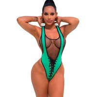ingrosso un pezzo catsuit del bodysuit-Black Mesh Patchwork Sexy Costume da bagno Feme Summer Front Cross Laue Up V Neck Skinny Body Perspective One Piece Catsuit LD8094