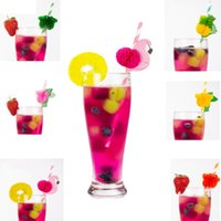 fiesta de cumpleaños decoraciones paja al por mayor-Summer Biodegradable Cocktail Paper Straw Party Beber paja Wedding Birthday Party Bar Creative Theme Decoration Party Supplies 25pcs / Lot