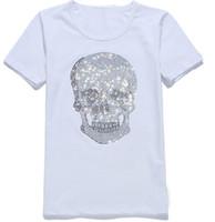 camisa de diamante de crânio venda por atacado-Mens Streetwear Camisetas de Verão das mulheres Mastermind Brilhante Diamante Strass Tshirts Crânios Padrão Projeto Tripulação Pescoço de Manga Curta T-Shirts
