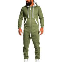 комбинезоны для пижамы оптовых-Jumpsuit One-piece garment Non Footed Pajama 2019 Fashion Tracksuit Sport Men Unisex Playsuit Blouse Hoodie Running Sets