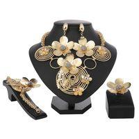ingrosso monili di modo dei costumi dei monili-New Italy Fashion Costume Jewellery Donne africane Collana grande Bracciale Anelli Orecchini Set di gioielli Dubai acciaio oro Platin