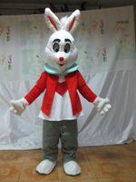 costumes de lapin de pâques personnalisés achat en gros de-Personnalisé professionnel Red Lapin Costume De Mascotte De Bande Dessinée Lapin De Pâques Caractère Vêtements Noël Halloween Partie Fantaisie Robe