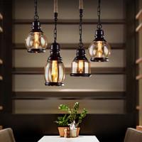 endüstriyel stil aydınlatma kolye toptan satış-Vintage Çatı Kolye Işık Sanayi Stil Amber Cam Lamba Çubuğu / Restoran Retro Odası Bar 3 Stil Kolye Işık