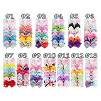 Wholesale clipper hair resale online - 78 color quot JOJO hair Bow girl colorful print Barrettes Girl Hair Accessories Rainbow Unicorn kids Unicorn party hair clipper