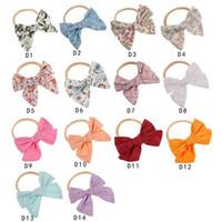 neue design baby haare zubehör blume großhandel-Neue Baby Mädchen Stirnband Blumen Print Bow Design Mädchen Haar Stirnbänder Zubehör Multi Choice