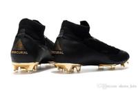 cr7 botas de fútbol negro oro al por mayor-Venta caliente Original Mercurial Superfly negro oro CR7 FG zapatos de fútbol de calidad superior botas de fútbol de calidad superior