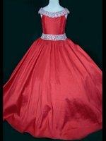 тафта розовый цветок девушка платье оптовых-Довольно Розового Фиолетовой Красной тафта шарики девушки цветок платье принцесса платье девушка Pageant платье на заказ размер