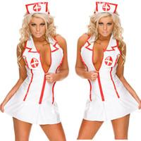 ingrosso lingerie sexy infermieri-Sexy Lingerie Roleplay Fancy Hot Bedroom Infermiera Costume Infermiera Vestito cappello Sexy Costumi Abbigliamento moda