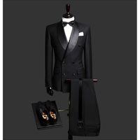 casaco preto venda por atacado-Custom Made Slim Fit Preto 2 Peça Mens Blazer Duplo Breasted Terno Homens Ternos de Casamento Do Noivo Smoking Para Homens (Jacket + Pants + Tie)