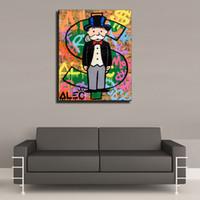 pinturas a óleo macacos venda por atacado-Alec Monopólio -11,1 Peças Da Lona Cópias Da Arte Da Parede Pintura A Óleo Home Decor (Unframed / Emoldurado) 16X20.