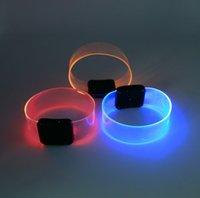 la banda de la muñeca se ilumina al por mayor-Novedad Creative Sport Magnetic TPU LED Flashing Wrist Band Pulsera Cinturón Light Up Dance Party Glow para decoración de fiesta Regalo LED Bar Prop
