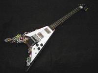 v magasin de guitare achat en gros de-Rare Custom Shop Jimi Hendrix Psychédélique Flying V Peint À La Main Guitare 1967 Volant Chinois Guitare Usine Magasins