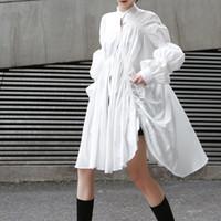 asymmetrisches langes kleid großhandel-Koreanischen Stil Shirts Kleid Frauen Stehkragen Puff Langarm Asymmetrische Kleider Weibliche 2019 Frühlingsmode