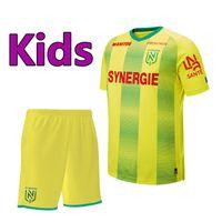 genç futbol setleri toptan satış-19 20 Ligue 1 FC Nantes futbol Forması çocuklar Kiti setleri çorap 2019 2020 FC Nantes boys gençlik ev sarı futbol Gömlek üniforma