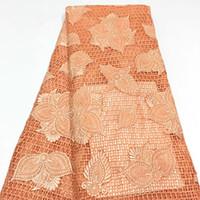 оранжевые кружевные ткани оптовых-Оранжевый Африканский Кружевной Ткани 2018 Вышитые Нигерийский Кружевной Ткани Люкс Высокое Качество Французский Тюль Кружевной Ткани Для Женщин H1422
