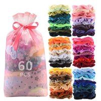 Girl HairsBand Velvet large Intestine Ponytail Clip Elastic Hair Band Women's Velvet Hair Scrunchies Colorful Hair Accessories 60PC WY23Q-2