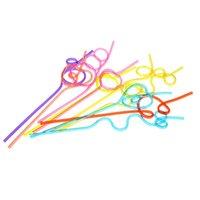 цветные соломки оптовых-1000 шт. Красочные Соломы Сумасшедшие Вьющиеся Петли Цветные Пластиковые Соломинки для Партии Рождения Бар Аксессуары Быстрая Доставка